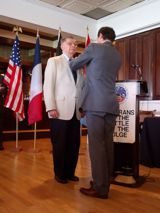 Mr. Frank Wooldridge receives the Legion of Honor medal from Fabien Fieschi, Consul General of France in Boston - JPEG