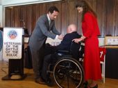 Mr. Armand Descoteau receives the Legion of Honor medal from Fabien Fieschi, Consul General of France in Boston - JPEG